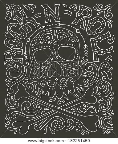 Skull, bones and rock-n-roll - handdrawn letterin poster. T-shirt design. Rock concert poster. Typographical poster made in vector.