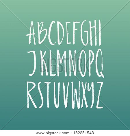 Handdrawn latin alphabet. Brushy letters. Vector ABC with real texture - letters isolated and easy to use for your lettering design. Sketchy script.