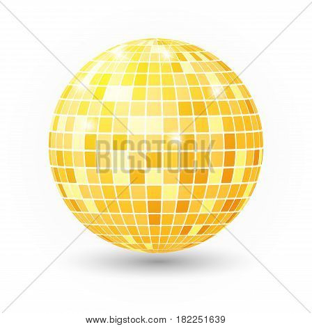 Disco ball isolated illustration. Night Club party light element. Bright mirror golden ball design vector template.