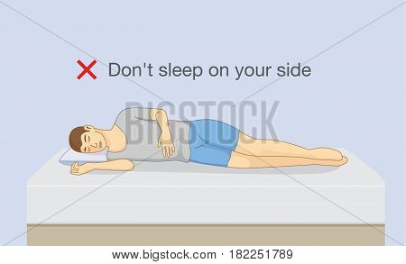 Don't sleep on your side. Illustration about wrong sleeping position make body pain symptom.