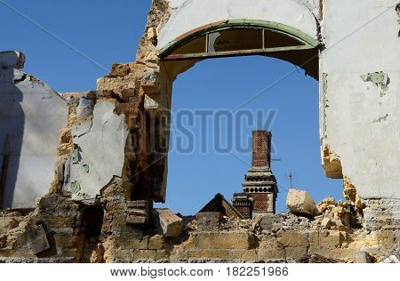 Frame of abandoned ruined building with blue sky, Odessa, Ukraine