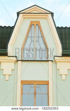 Vintage wooden windows with brick wall background