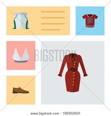 Flat Dress Set Of Brasserie, Clothes, Male Footware And Other Vector Objects. Also Includes Clothes, Shorts, Breast Elements.