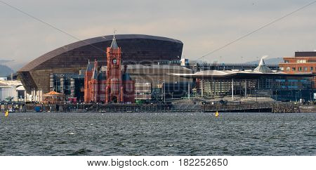 Cardiff Bay Seafront with National Assembly for Wales. Pierhead Building and Wales Millenium Centre with the Assembly complex in Cardiff Bay Wales UK