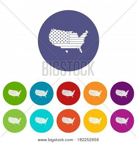 Uncle sam hat icons set in circle isolated flat vector illustration