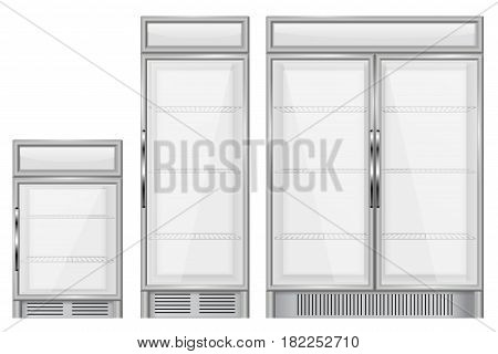 Display refrigerator. Set of commercial merchandisers. Vector illustration isolated on white background