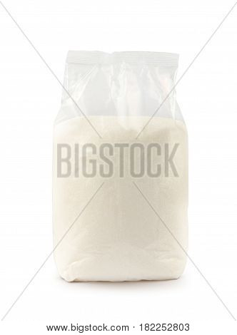 Transparent plastic package of sugar isolated on white background with clipping path. Mockup.