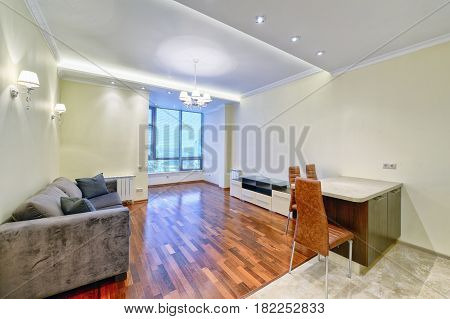 Russia,Moscow region -  living room interior design in new  house.