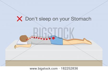 Don't sleep on your stomach. Illustration about wrong sleeping position make chronic back pain.