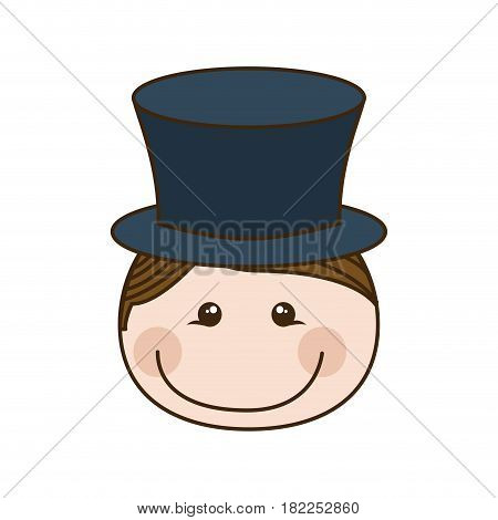 colorful caricature front face boy with cap vector illustration