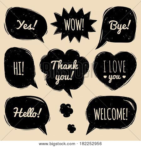 Vector set of speech bubbles in comic style. Hand drawn set of dialog windows with phrases Hi, Hello, Thank you, Yes, Wow, Bye, Welcome, I love you.