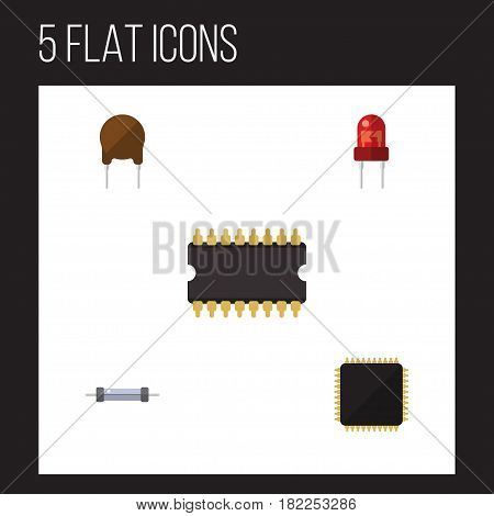 Flat Electronics Set Of Recipient, Triode, Resistor And Other Vector Objects. Also Includes Motherboard, Triode, Recipient Elements.