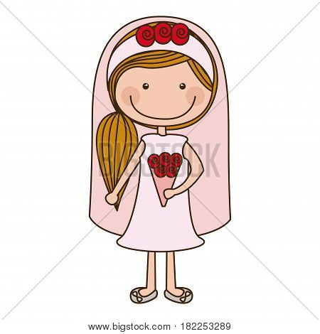 colorful caricature woman in wedding dress with side ponytail hairstyle vector illustration