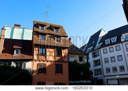 Neat Houses of Strasbourg and blue sky, France