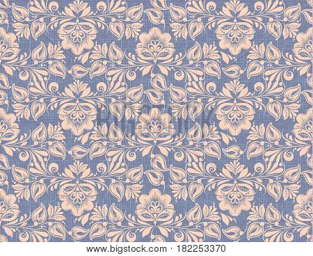 Hohloma style seamless pattern vector background. Traditional russian flower decoration on flax texture