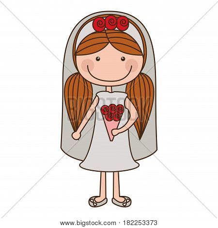 colorful caricature woman in wedding dress with pigtails hairstyle vector illustration