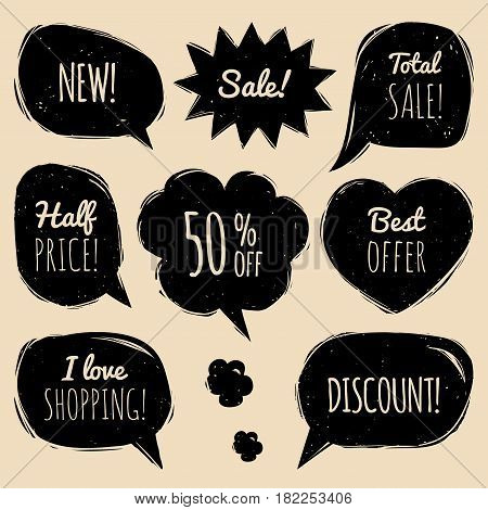 Vector set of comic speech bubbles with sale inscription. Shopping phrases in dialog windows Sale, Half price, Best offer, Total Sale etc. Collection for discount cards or advertising posters etc.