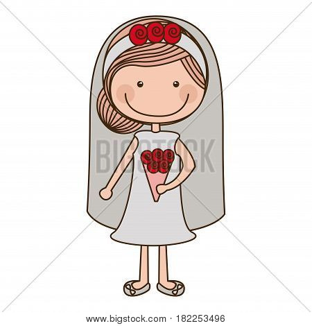 colorful caricature woman in wedding dress with collected hairstyle vector illustration