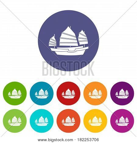 Junk boat icons set in circle isolated flat vector illustration