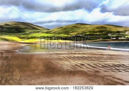 Colorful painting of sea shore at Ventry harbour, Dingle peninsula, Ireland