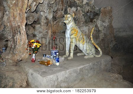 The Statue Of The Tiger In Mua Cave, Ninh Binh Province, Vietnam