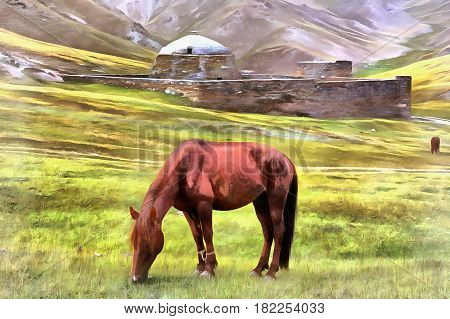 Horse at grassland with old fortress on background, Kyrgyzstan