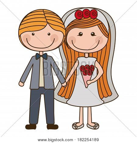 colorful caricature couple in wedding suit with blond hair vector illustration