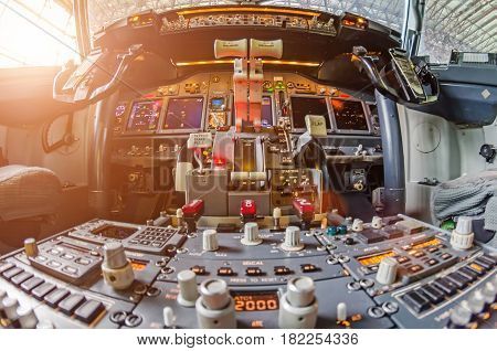 Aircraft Cockpit View On The Control Panel