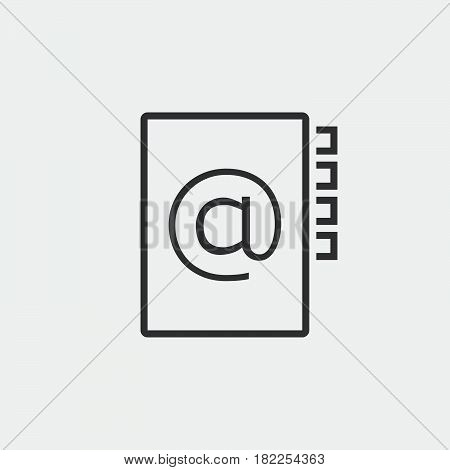 Address Book Line Icon, Outline Vector Pixel Perfect Illustration, Linear Pictogram Isolated On Whit