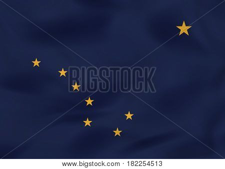 Alaska Waving Flag. Alaska State Flag Background Texture.