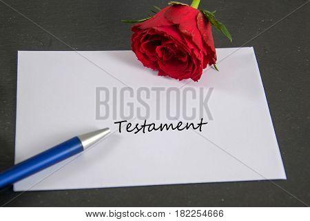 Testament - german for last will -  written on an envelope