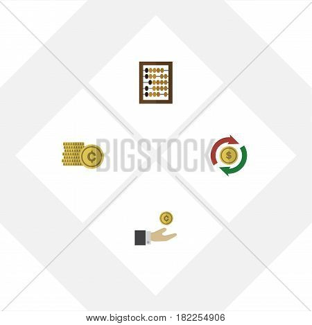 Flat Gain Set Of Hand With Coin, Counter, Interchange Vector Objects. Also Includes Swap, Abacus, Money Elements.