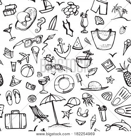 Summer doodle pattern. Summer beach holidays, travel, shoes, ice cream, shells, ball, drink, towel, sun glasses, parasol. Hand drawn doodle. Seamless vector sketch background