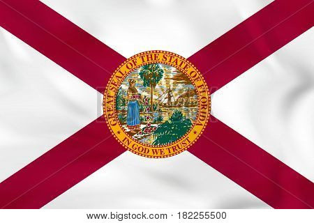 Florida Waving Flag. Florida State Flag Background Texture.