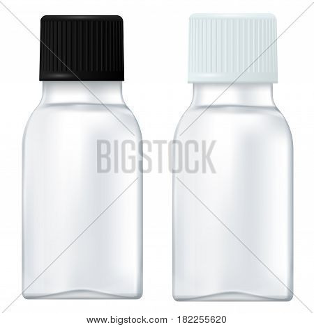 Medicine bottle. Small white bottle with plastic cap. Vector illustration isolated on white background