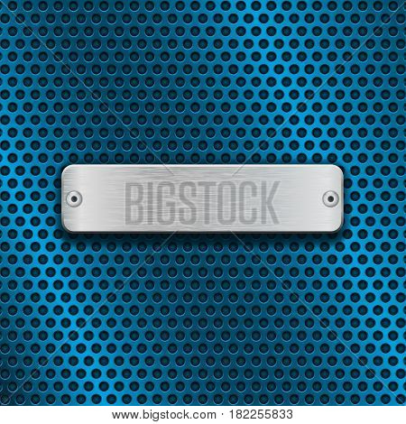 Stainless steel brushed plate on blue metal perforated background. Vector 3d illustration