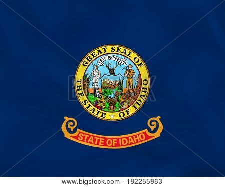 Idaho Waving Flag. Idaho State Flag Background Texture.