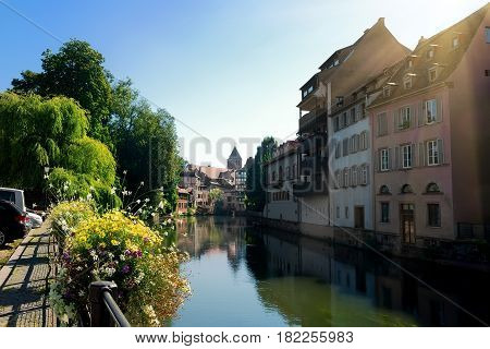 Quay Woerthel on river Ill in Strasbourg, France