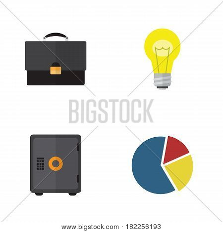 Flat Exchequer Set Of Graph, Bubl, Strongbox And Other Vector Objects. Also Includes Briefcase, Pie, Diplomat Elements.