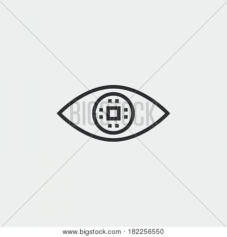 Cyber Eye Line Icon, Ocular Chip Outline Vector Illustration, Linear Pictogram Isolated On White