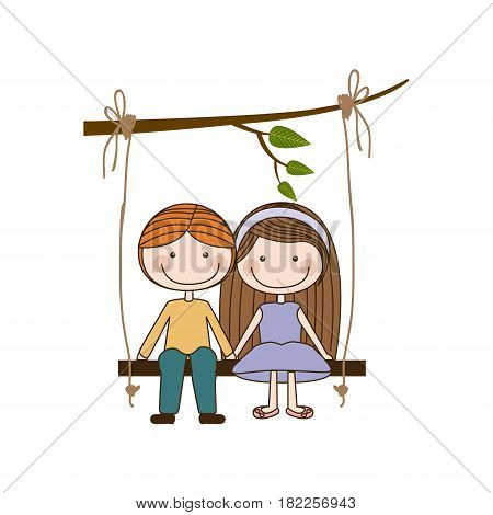 colorful caricature blond guy in formal suit and girl with brown long hair sit in swing hanging from a branch vector illustration