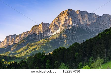Alpine morning sunlit scenery in national park Berchtesgaden in the south of Bavaria