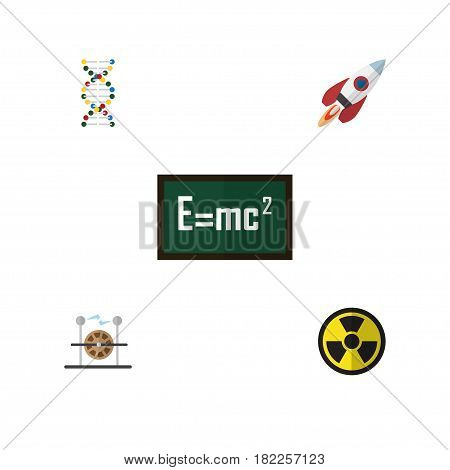 Flat Science Set Of Theory Of Relativity, Spaceship, Electrical Engine And Other Vector Objects. Also Includes Spaceship, Genome, Rocket Elements.