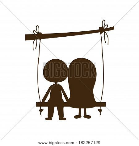 brown silhouette caricature man and woman sit in swing hanging from a branch vector illustration