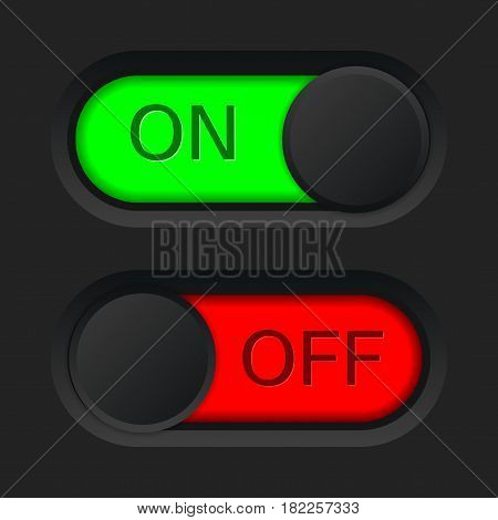 On and Off toggle switch button. Red and green. Vector illustraton