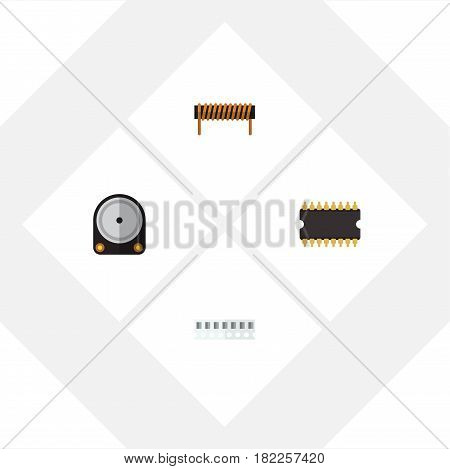 Flat Electronics Set Of Bobbin, Microprocessor, Hdd And Other Vector Objects. Also Includes Hard, Central, Processor Elements.