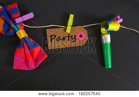 Party - written on a paper tag