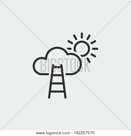 Stairway To Sky Line Icon, Career Outline Vector Illustration, Linear Pictogram Isolated On White
