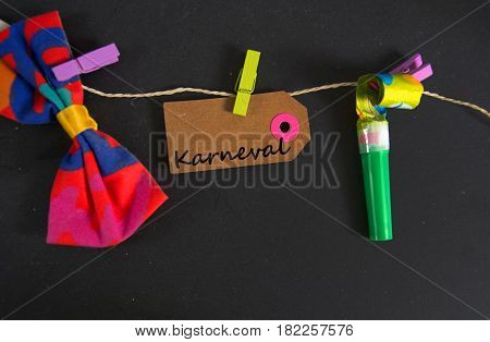 Karneval -  german for carnival- written on a paper tag