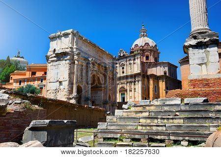 Staircase to temple in Roman Forum, Italy